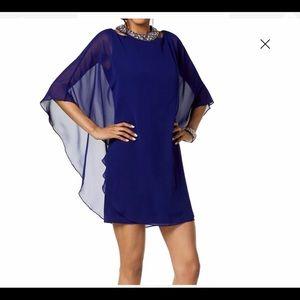 Women's Dress Sheath Embellished Sheer Overlay